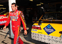 Sept. 26, 2008; Kansas City, KS, USA; Nascar Sprint Cup Series driver Kyle Busch during qualifying for the Camping World RV 400 at Kansas Speedway. Mandatory Credit: Mark J. Rebilas-