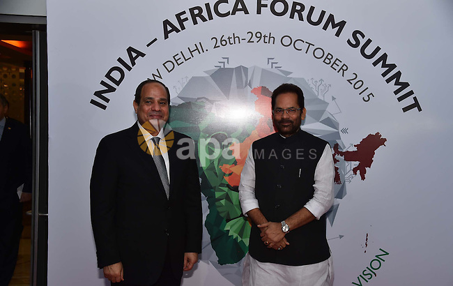 Egyptian President Abdel Fattah Al Sisi arrives for the India Africa Forum Summit (IAFS) in New Delhi, India, Thursday, Oct. 29, 2015. More than 40 African leaders are in New Delhi for a summit to explore how Indian investment and technology can help a resurgent Africa face its development challenges. Photo by Egyptian President Office