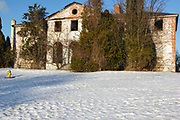 Winter Island Maritime Park - Abandoned Coast Guard barracks during the winter months. Located in Salem, Massachusetts USA which is part of scenic New England