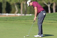 Eddie Pepperell (ENG) putts on the 14th green during Thursday's Round 1 of the 2016 Portugal Masters held at the Oceanico Victoria Golf Course, Vilamoura, Algarve, Portugal. 19th October 2016.<br /> Picture: Eoin Clarke   Golffile<br /> <br /> <br /> All photos usage must carry mandatory copyright credit (© Golffile   Eoin Clarke)
