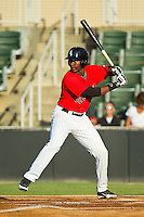Keon Barnum (35) of the Kannapolis Intimidators at bat against the Greensboro Grasshoppers at CMC-Northeast Stadium on July 15, 2013 in Kannapolis, North Carolina.  The Intimidators defeated the Grasshoppers 4-0.   (Brian Westerholt/Four Seam Images)