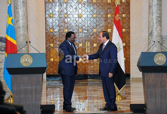 Egyptian President Abdel Fattah el-Sisi, meets with Congolese President Joseph Kabila, in Cairo, Egypt on April 22, 2017.. Photo by Egyptian President Office