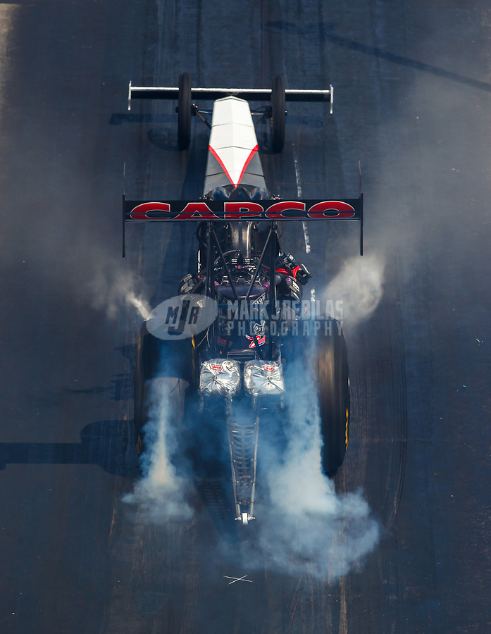 Sep 16, 2017; Concord, NC, USA; NHRA top fuel driver Steve Torrence during qualifying for the Carolina Nationals at zMax Dragway. Mandatory Credit: Mark J. Rebilas-USA TODAY Sports