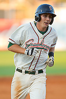 Chase Austin #8 of the Greensboro Grasshoppers rounds the bases after hitting a home run against the Lakewood BlueClaws at NewBridge Bank Park July 6, 2010, in Greensboro, North Carolina.  Photo by Brian Westerholt / Four Seam Images