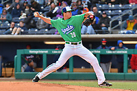 Peter Lambert (20) of the Hartford Yard Goats delivers a pitch during a game against the New Hampshire Fisher Cats at Dunkin Donuts Park on April 8, 2018 in Hartford, Connecticut.<br /> (Gregory Vasil/Four Seam Images)