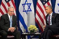 """(L to R) Prime Minister of Israel Benjamin Netanyahu speaks to United States President Barack Obama during a bilateral meeting at the Lotte New York Palace Hotel, September 21, 2016 in New York City. Last week, Israel and the United States agreed to a $38 billion, 10-year aid package for Israel. Obama is expected to discuss the need for a """"two-state solution"""" for the Israeli-Palestinian conflict. Photo Credit: Drew Angerer/CNP/AdMedia"""
