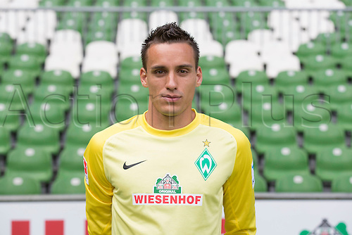 29.07.2013. Bremen, Germany.  The picture shows German Soccer Bundesliga club SV Werder Bremen's goalkeeper Raphael Wolf during the official photocall for the season 2013-14 in Bremen.