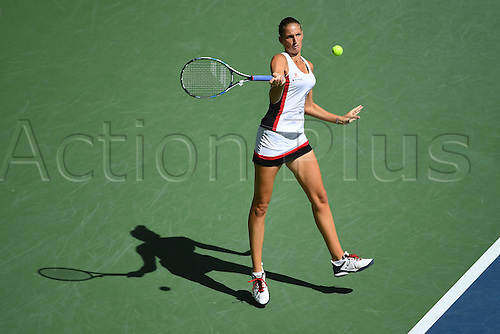 07.09.2016. Flushing Meadows, New York, USA. Karolina Pliskova (CZE) returns to  Ana Konjuh (CRO)  in the womens singles quarter-final.