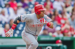 21 May 2014: Cincinnati Reds catcher Brayan Pena in action against the Washington Nationals at Nationals Park in Washington, DC. The Reds edged out the Nationals 2-1 to take the rubber match of their 3-game series. Mandatory Credit: Ed Wolfstein Photo *** RAW (NEF) Image File Available ***