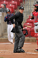 Home plate umpire Emma Charlesworth-Seiler in action during a game between the Cedar Rapids Kernels and the Burlington Bees at Veterans Memorial Stadium on April 14, 2019 in Cedar Rapids, Iowa.  The Bees won 6-2.  (Dennis Hubbard/Four Seam Images)