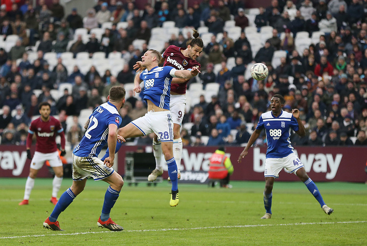 West Ham United's Andy Carroll scores his side's second goal <br /> <br /> Photographer Rob Newell/CameraSport<br /> <br /> Emirates FA Cup Third Round - West Ham United v Birmingham City - Saturday 5th January 2019 - London Stadium - London<br />  <br /> World Copyright &copy; 2019 CameraSport. All rights reserved. 43 Linden Ave. Countesthorpe. Leicester. England. LE8 5PG - Tel: +44 (0) 116 277 4147 - admin@camerasport.com - www.camerasport.com
