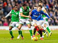 5th February 2020; Ibrox Stadium, Glasgow, Scotland; Scottish Premiership Football, Rangers versus Hibernian; Joe Newell of Hibernian and Ianis Hagi of Rangers compete for possession of the ball