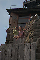 Alex and Eliza at Stone Tower on Summit of Mt. Constitution, Orcas Island, San Juan Islands, Washington, US