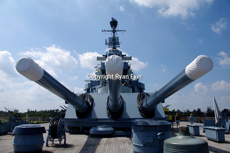 WILMINGTON - 12 September 2010 - The guns of the USS North Carolina, which was the lead ship of her class of battleship and the fourth in the United States Navy to be named in honor of this U.S. state. She was the first new-construction U.S. battleship to enter service during World War II, participating in every major naval offensive in the Pacific theater to become the most decorated U.S. battleship of the war with 15 battle stars.[2] She is now a museum ship at the port of Wilmington, North Carolina. Picture: Ryan Eyer/APP/Allied PIcture Press.