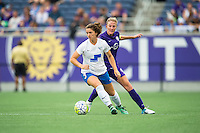 Orlando, FL - Sunday July 10, 2016: Elise Krieghoff, Becky Edwards during a regular season National Women's Soccer League (NWSL) match between the Orlando Pride and the Boston Breakers at Camping World Stadium.
