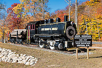 Historic logging train landmark at Loon Mountain, Lincoln, New Hampshire, USA.