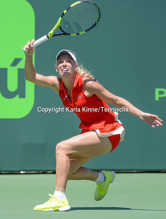 March 27 2017: Caroline Wozniacki (DEN) defeats Garbine Muguruza (ESP) by 7-6, 0-0 retired, at the Miami Open being played at Crandon Park Tennis Center in Miami, Key Biscayne, Florida. ©Karla Kinne/Tennisclix/Cal Sports Media