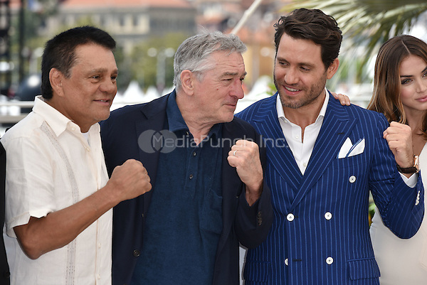 Roberto DUR&ccedil;N, Robert De Niro, Edgar Ramirez<br /> 'Hands of Stone' photocall during the 69th International Cannes Film Festival, France May 16, 2016.<br /> CAP/PL<br /> &copy;Phil Loftus/Capital Pictures<br /> Roberto DUR&Aacute;N, Robert De Niro, Edgar Ramirez<br /> 'Hands of Stone' photocall during the 69th International Cannes Film Festival, France May 16, 2016.<br /> CAP/PL<br /> &copy;Phil Loftus/Capital Pictures /MediaPunch ***NORTH AND SOUTH AMERICA ONLY***