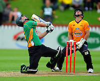 Firebirds keeper Chris Nevin watches Jamie How hit a sky ball to Neal Parlane to be out on 96. HRV Cup Twenty20 cricket - Wellington Firebirds v Central Stags at Allied Nationwide Finance Basin Reserve, Wellington. Monday, 27 December 2010. Photo: Dave Lintott / lintottphoto.co.nz