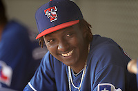 Texas Rangers pitcher Akeem Bostick in the dugout during an Instructional League game against the NC Dinos on October 9, 2013 at Surprise Stadium Training Complex in Surprise, Arizona.  (Mike Janes/Four Seam Images)