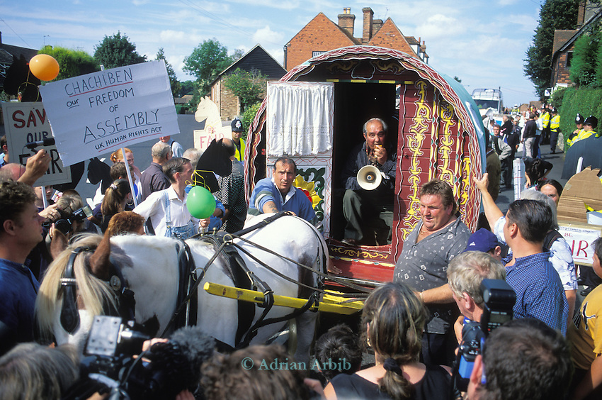 Gypsy councillor Eli Frankham speaks out from his  bowtop wagon  as he leads the Romany gypsies in protest  at the Horsmonden horse fair in Kent.  On this occasion the police were preventing the Romanies from reaching the green in Horsmonden by creating an exclsion zone around the Kent village.