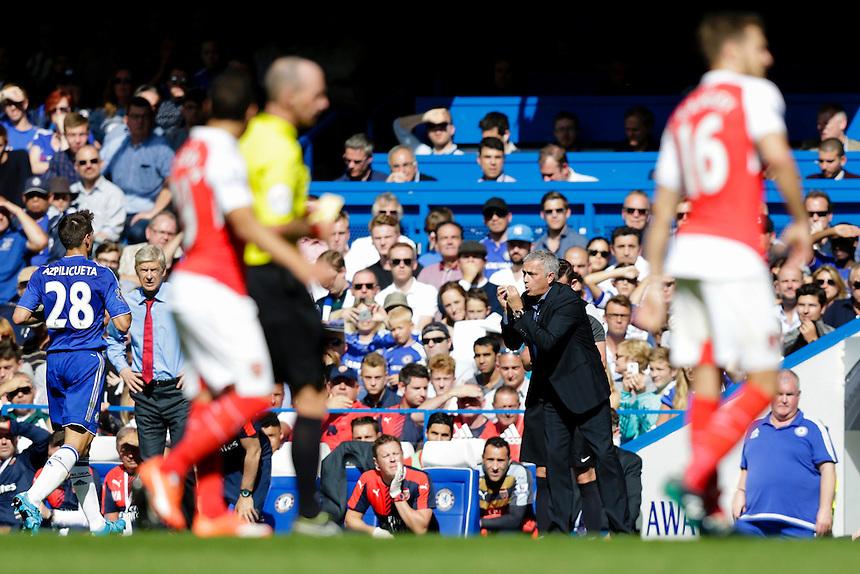 Chelsea Manager Jose Mourinho reacts during the game<br /> <br /> Photographer Craig Mercer/CameraSport<br /> <br /> Football - Barclays Premiership - Chelsea v Arsenal - Saturday 19th September 2015 - Stamford Bridge - London<br /> <br /> &copy; CameraSport - 43 Linden Ave. Countesthorpe. Leicester. England. LE8 5PG - Tel: +44 (0) 116 277 4147 - admin@camerasport.com - www.camerasport.com