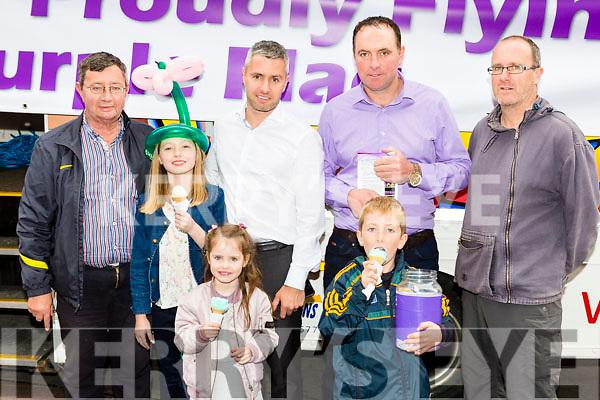Celebrating Killarney Purple flag in Killarney on Saturday were l-r: Billy O'Neill, Elizabeth Fleming, Zoe O'Neill, Paul O'Neill, Ruadhan O Coilean, Micheal O coileain and Anthony O'sullivan