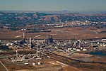 Aerial over oil refinery refining plant near Clyde, California