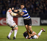 Matt Banahan of Bath Rugby fends Harry Wells of Leicester Tigers. Anglo-Welsh Cup match, between Bath Rugby and Leicester Tigers on November 10, 2017 at the Recreation Ground in Bath, England. Photo by: Patrick Khachfe / Onside Images