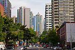 Seattle, First Avenue, Wall Street, Belltown, Cyclops Restaurant, summer, street scene,