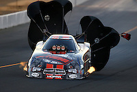 Jul. 25, 2014; Sonoma, CA, USA; NHRA funny car driver Matt Hagan during qualifying for the Sonoma Nationals at Sonoma Raceway. Mandatory Credit: Mark J. Rebilas-