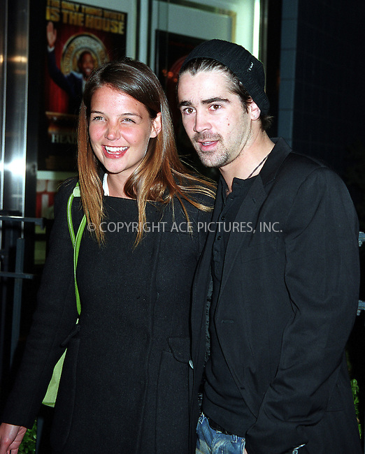 "Katie Holmes and Colin Farrell at the premiere-afterparty for ""Phone Booth."" New York, March 31, 2003. Mandatory byline: Jose Perez/NY Photo Press.   ..*PAY-PER-USE*      ....NY Photo Press:  ..phone (646) 267-6913;   ..e-mail: info@nyphotopress.com.."