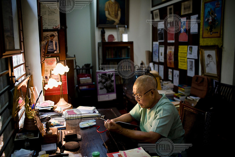 "Mr Sulak Sivaraksa, 78 years old, sits at his home in Bangkok, his latest book has been released in United Kingdom, called ""The Wisdom of Sustainability  Buddhist Economics for the 21st Century"". Sulak Sivaraksa is one of Asia's leading social thinkers and activists."