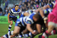 Gavin Henson watches a scrum. LV= Cup match, between Bath Rugby and London Welsh on November 1, 2014 at the Recreation Ground in Bath, England. Photo by: Patrick Khachfe / Onside Images