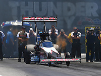 Jun 18, 2016; Bristol, TN, USA; NHRA top fuel driver Steve Torrence during qualifying for the Thunder Valley Nationals at Bristol Dragway. Mandatory Credit: Mark J. Rebilas-USA TODAY Sports