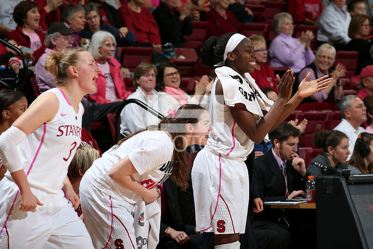 STANFORD, CA - February 16, 2014: Stanford Cardinal's Mikaela Ruef, Sara James, and Chiney Ogwumike during Stanford's 74-48 victory over Arizona at Maples Pavilion.
