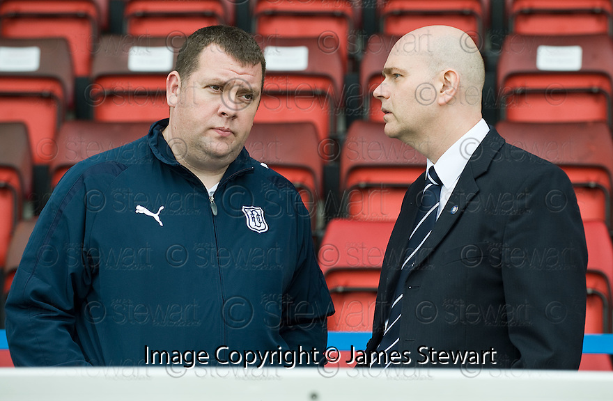 16/10/2010   Copyright  Pic : James Stewart.sct_jsp022_stirling_v_dundee  .:: DUNDEE CHIEF EXEC HARRY MCLEAN SPEAKS TO FANS REP BOARD MEMBER GEORGE KNIGHT ::  .James Stewart Photography 19 Carronlea Drive, Falkirk. FK2 8DN      Vat Reg No. 607 6932 25.Telephone      : +44 (0)1324 570291 .Mobile              : +44 (0)7721 416997.E-mail  :  jim@jspa.co.uk.If you require further information then contact Jim Stewart on any of the numbers above.........