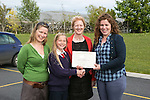 Pictured at the presentation of certificated by EcoEco Beo to students from New Quay National school were: Bridget Barry,Burren Beo Trust, Student Shonagh Farrell,Carmel Thynne, Principal New Quay NS, Aine Bird, Eco Beo Co ordinator . Pictured Credit Brian Gavin Press 22