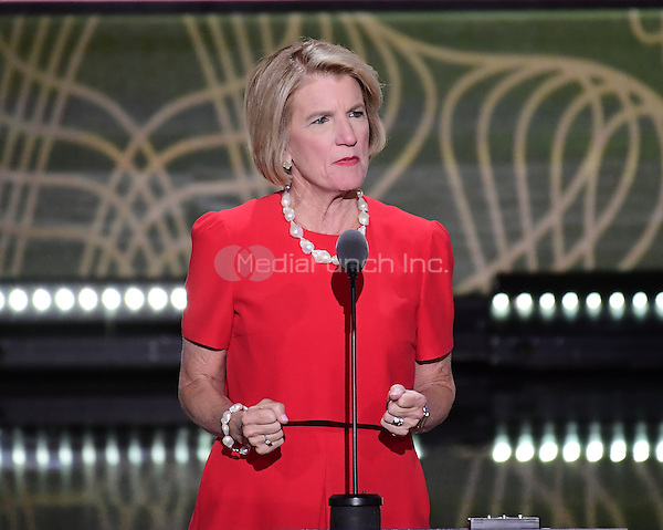 United States Senator Shelley Moore Capito (Republican of West Virginia) makes remarks at the 2016 Republican National Convention held at the Quicken Loans Arena in Cleveland, Ohio on Tuesday, July 19, 2016.<br /> Credit: Ron Sachs / CNP/MediaPunch<br /> (RESTRICTION: NO New York or New Jersey Newspapers or newspapers within a 75 mile radius of New York City)