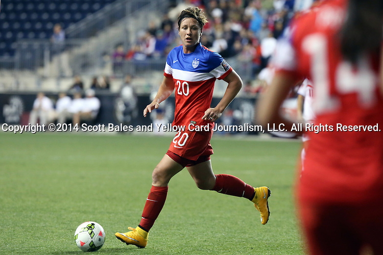 26 October 2014: Abby Wambach (USA). The United States Women's National Team played the Costa Rica Women's National Team at PPL Park in Chester, Pennsylvania in the 2014 CONCACAF Women's Championship championship game. By advancing to the final, both teams have qualified for next year's Women's World Cup in Canada. The United States won the game 6-0.