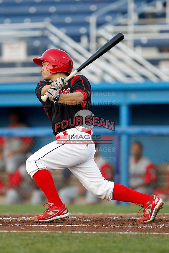 Batavia Muckdogs shortstop Vance Albitz #56 collects his first professional hit, a double, during a game against the Williamsport Crosscutters at Dwyer Stadium on August 24, 2011 in Batavia, New York.  Batavia defeated Williamsport 8-7.  (Mike Janes/Four Seam Images)