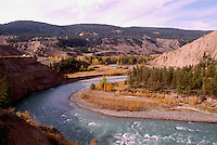 Cariboo Chilcotin Coast Region, BC, British Columbia, Canada - Chilcotin River flowing through Farwell Canyon, Autumn / Fall