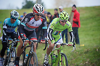 Ronde van Vlaanderen 2013..Peter Sagan (SVK) & Fabian Cancellara (CHE) breaking out of the chasing group and going after race leader Jürgen Roelandts on the final ascent of the Oude Kwaremont