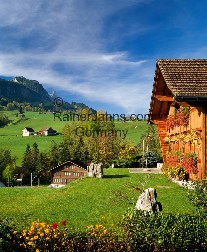 Schweiz, Kanton Appenzell Innerrhoden, Appenzellerland: Blick ueber Weissbad zur Ebenalp   Switzerland, Canton Appenzell Innerrhoden, Appenzellerland: village Weissbad with Ebenalp