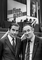 TD&rsquo;s, Tom O&rsquo;Donnell, left, and Paddy Harte, at Fine Gael Ard Fheis, October, 1982, 198210000253TOD+PH<br /> <br /> Copyright Image from Victor Patterson, 54 Dorchester Park, <br /> Belfast, UK, BT9 6RJ<br /> <br /> t1: +44 28 9066 1296 (from Rep of Ireland 048 9066 1296)<br /> t2: +44 28 9002 2446 (from Rep of Ireland 048 9002 2446)<br /> m: +44 7802 353836<br /> <br /> victorpatterson@me.com<br /> www.victorpatterson.com<br /> <br /> Please see my Terms and Conditions of Use at VICTORPATTERSON.COM. It is IMPORTANT that you familiarise yourself with them.<br /> <br /> Images used on the Internet must be visibly watermarked i.e. &copy;VICTORPATTERSON.COM within the body of the image and copyright metadata must not be deleted. Images used on the Internet have a size restriction of 4kbs and are chargeable at the then current NUJ rates.<br /> <br /> This image is only available for the use of the download recipient i.e. television station, newspaper, magazine, book publisher, etc, and must not be passed on to any third party. It is also downloaded on condition that each and every usage is notified within 7 days to victorpatterson@me.com<br /> <br /> The right of Victor Patterson to be identified as the author is asserted in accordance with The Copyright Designs And Patents Act (1988).