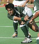 Champions Trophy Hockey mannen Nederland-Pakistan. Mohail Abbas van Pakistan. Abbas komt na de winterstop voor Rotterdam in aktie.