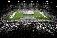 16 September 2006: Photograph of the half-time ceremony during Stanford's 34-9 loss against the Navy Midshipmen at Stanford Stadium in Stanford, CA. The game was the first to take place at the new Stanford Stadium, a 90-million dollar construction project that only took 10 months to complete.