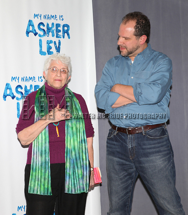 Chaim Potok's widow Adena Potok and Playwright Aaron Posner attends the Meet & Greet for the new Off-Broadway Play 'My Name Is Asher Lev'  at the Davenport Studios on 10/22/2012 in New York City.
