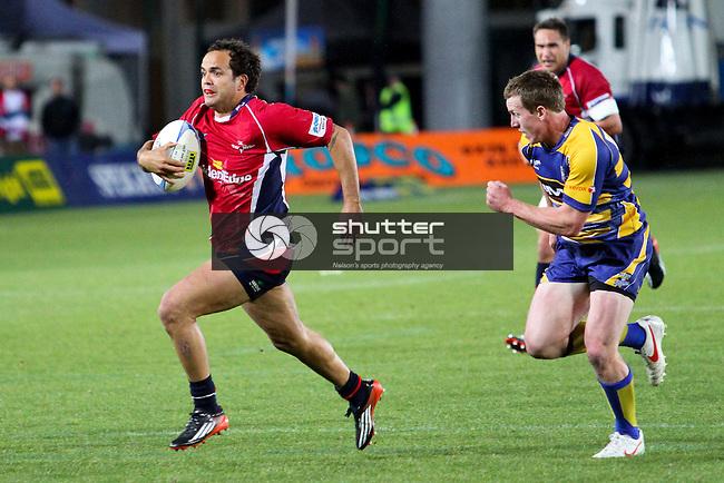 Robbie Malneek in flight. Tasman Makos v BOP Steamers, ITM Cup, 4 October 2012, Trafalgar Park, Nelson, New Zealand<br /> Photo: Marc Palmano/shuttersport.co.nz