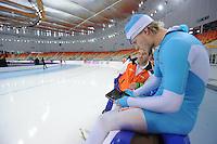 SPEEDSKATING: SOCHI: Adler Arena, 19-03-2013, Training, Jan van Veen (trainer/coach Team Van Veen), Maurice Vriend (NED), © Martin de Jong